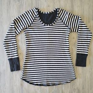 Lululemon Women's Black/White Striped Crew Neck